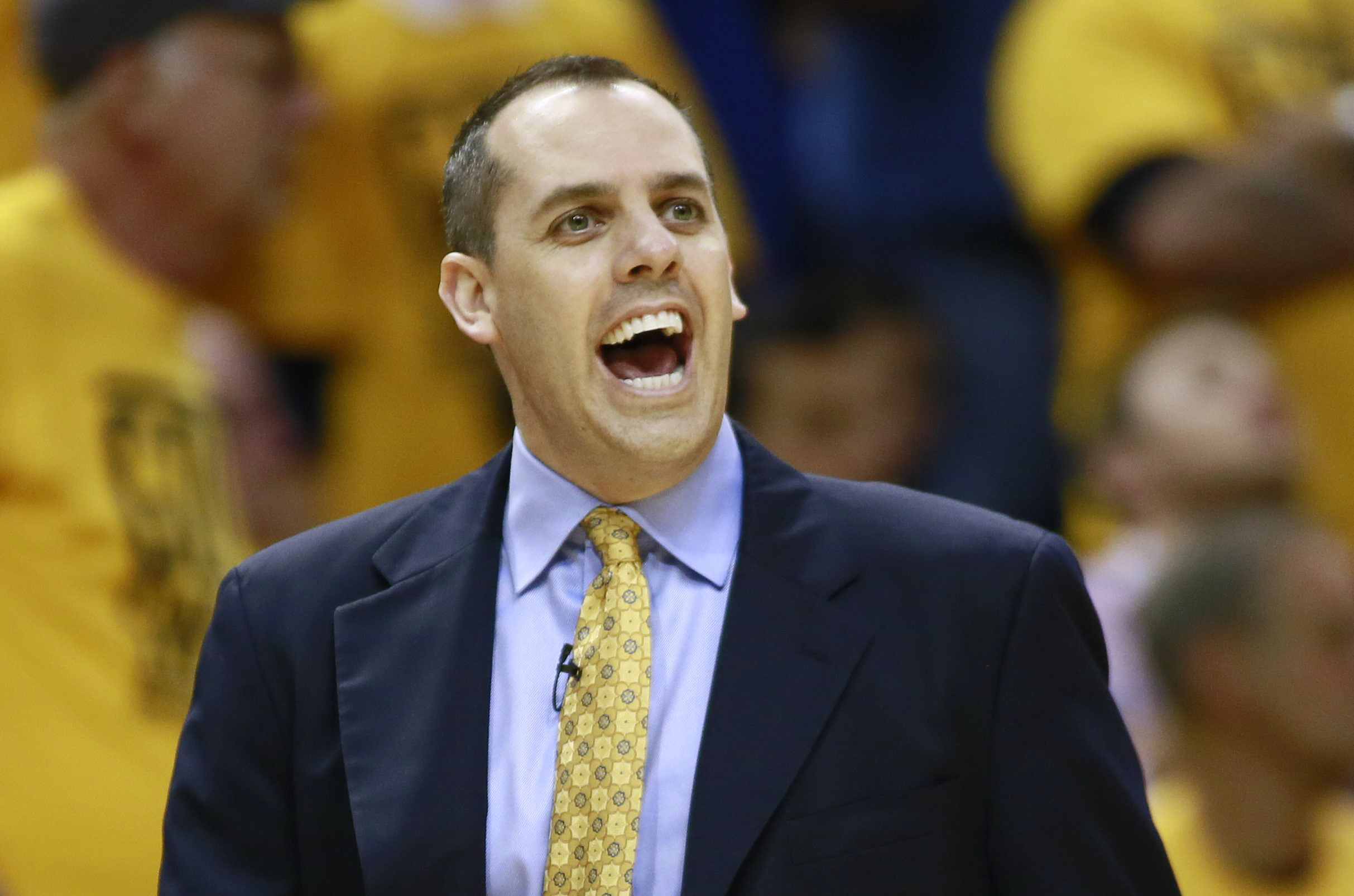 Indiana Pacers head coach Frank Vogel directs his team against the Miami Heat in Game 4 of their NBA Eastern Conference Final basketball playoff series in Indianapolis